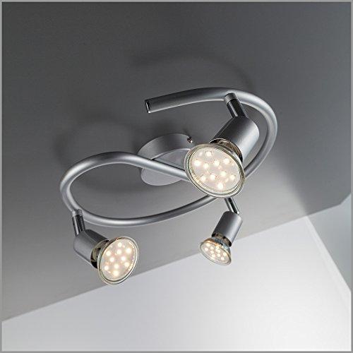LED Deckenspirale 3 flammig Decken-strahler / Decken-leuchte / Spot / GU10 / 3 x 3 Watt / 3 x 250 Lumen / schwenkbar / titanfarbig