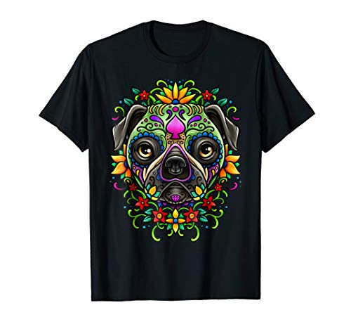 Day Of The Dead Pug T-Shirt Detailed Colorful Illustration