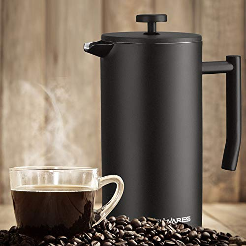 French Press Coffee Maker with Extra Filters for a Richer and Fuller Coffee Flavor, Designed with Double Wall Black Stainless Steel to Preserve Hot Coffee Temperature (34oz) by Belwares (Image #4)