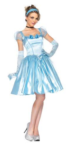 Leg Avenue Disney 3Pc. Classic Cinderella Satin Dress Choker and Headband, Blue, Large -