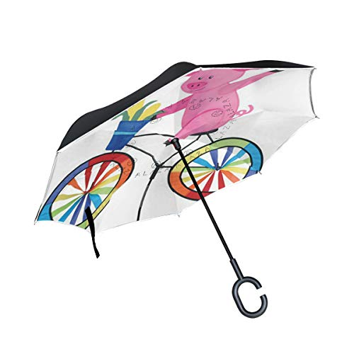 Inverted Umbrella Pig On A Bike Artistic Limited Edition Designs-Double Layered Reverse Colorful Rain Umbrella – Durable Inside Out Waterproof Windproof No Drip Protection by A lie
