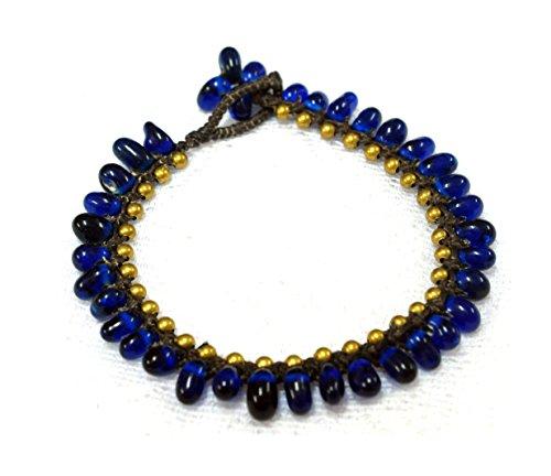 "Ankle Bracelet 10"" Dark Blue Drophandmade bohemian boho vintage fashion hippie yoga country anklet"