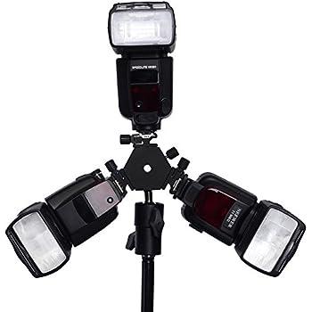 Neewer 3-Way Triple Hotshoe Mount Tilt Flash Bracket with Umbrella Holder for Nikon Canon Pentax Sigma