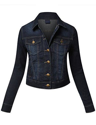 Fitted Denim Jacket - Cotton Blue Denim Jackets Dark Bl Medium
