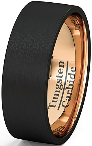 Mens Wedding Band Black Tungsten Ring 8mm Rose Gold Inside Matted Brushed Flat Edge Comfort - Flat Tungsten Band