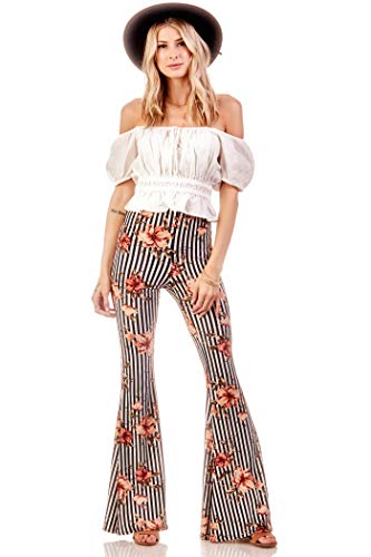 Mauve Stripe Floral - Vibe Sportswear Flare Pants, Elastic Waist (Black White Mauve, X-Large)