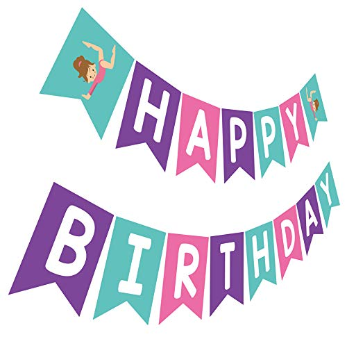 Gymnastics Birthday Banner, Pink Purple Teal Bday Sign, Gymnast Birthday Party Bunting Decoration]()