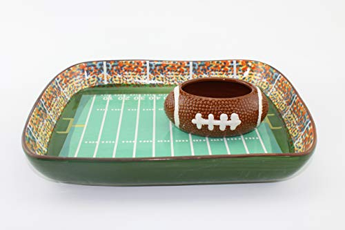 Ceramic Football Stadium Chips Serving Tray With Dipping Bowl Set, Perfect for Gaming Night (Football Stadium Tray)