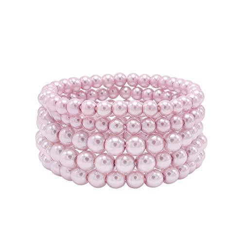 - T-Doreen 5 Row Blush Pearl Bracelet Set for Women Girls Beaded Stretch Strand Bracelet