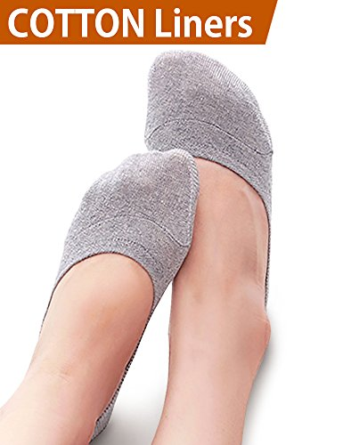 VERO MONTE 4 Pairs Womens No Show Socks Cotton (Skin + Grey, 8-9.5) -Liner Socks by VERO MONTE