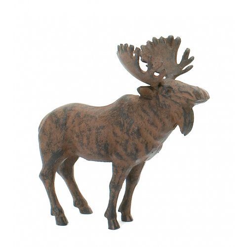 - Rustic Cast Iron Standing Moose Statue Garden Patio Statue Doorstop By Upper Deck 8.5 Inches Long By 8 Inches Tall By 4.5 Inches Wide.