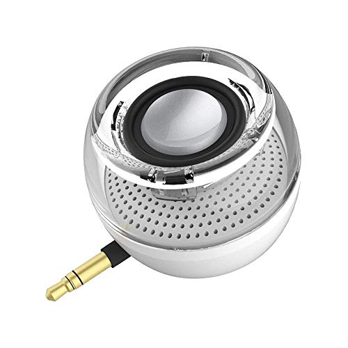 Mini Portable Speaker, 3W Mobile Phone Speaker with 250mAh Lithium Battery Line-in Speaker with Clear Bass 3.5mm AUX Audio Interface, Plug and Play for iPhone, iPad, iPod, Tablet, Computer (White) (Best Sounding Ipod Docking Station)
