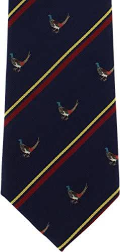 Navy Pheasant Silk Tie by Michelsons of London