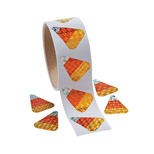 Fun Express - Candy Corn Prism Roll Stickers for Halloween - Stationery - Stickers - Stickers - Roll - Halloween - 100 Pieces