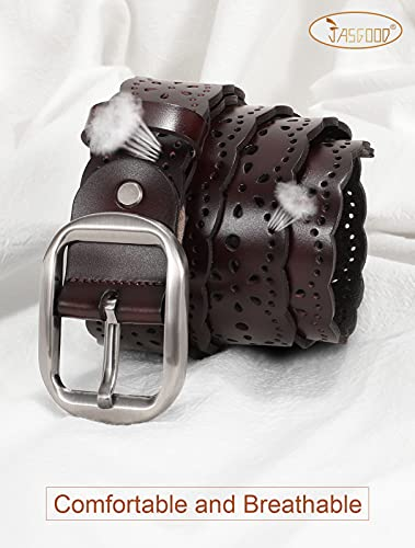 JASGOOD Women's Plus Size Belt, Hollow Flower Leather Belt for Jeans Pants Wide Belt with Metal Buckle