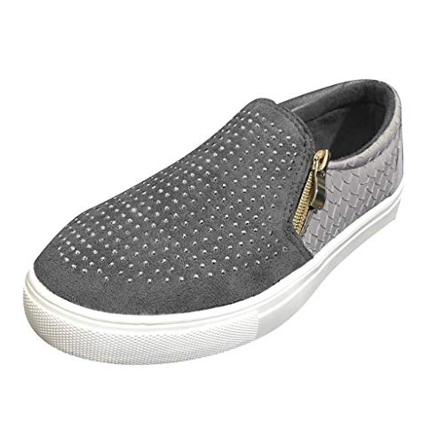 Cenglings Womens Casual Round Toe Flat Sneakers Slip On Rhinestone Hollow Out Side Zipper Pumps Office Work Boat Shoes - Zipper Swirl
