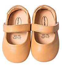 Mowoii Baby Girls Boys Leather Mary Jane Walking Shoes Prewalker Princess Wedding Dress Shoes Ballet Flats,Brown 12-18 Months/17
