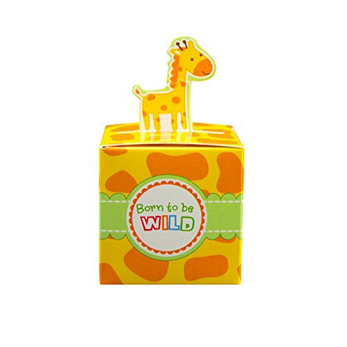 Adorox Small 24 Pcs Born To Be Wild Adorable Jungle Safari Zoo Theme Baby Shower Favor Candy Treat Box Cute Birthday Decoration (Giraffe (24 Pieces))