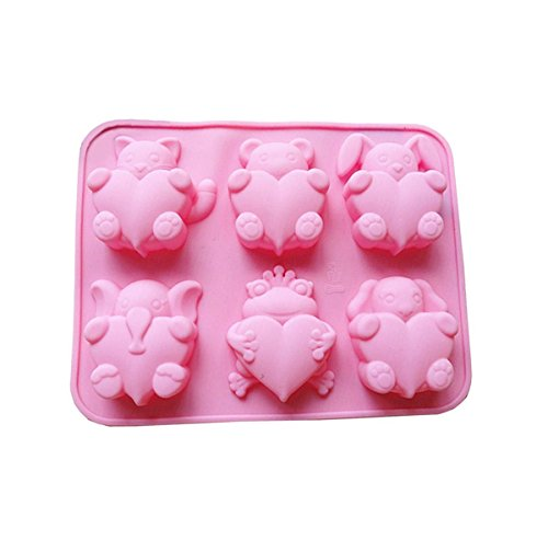 iHomeSpace 6 Cavities Different Cute Animal-shaped Love Silicone Cake Baking Mold Handmade Soap Moulds Cake Pan Muffin Cups Biscuit Chocolate Ice Cube Tray DIY Mold, Pink (Pans Animals Baking)