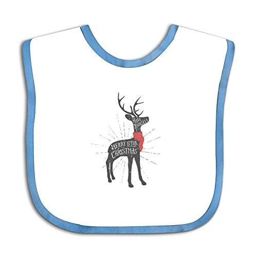 Vintage Christmas Greeting Card With Reindeer Teething Bib Waterproof Sleeved Bibs For Babies Toddlers