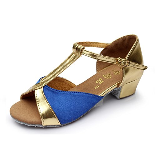 Strap Dance Onecolor with Jazz Shoes Dance Samba BYLE Sandals Modern Girls Women Ankle Bottom Soft Shoes Blue Latin Leather and qxAHtv