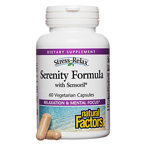Natural Factors - Stress-Relax Serenity Formula with Sensoril, Natural Adrenal Support to Encourage a Relaxed Mind, Body, and Mood with Ashwagandha, Eleuthero, and Lavender, 60 Vegetarian Capsules
