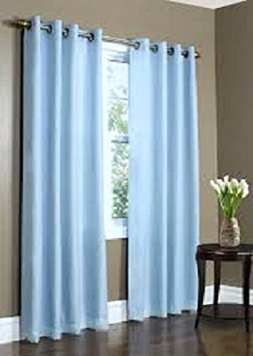 Gorgeous Home (#72) 1 PANEL SOLID LIGHT BLUE THERMAL FOAM LINED BLACKOUT HEAVY THICK WINDOW TREATMENT CURTAIN DRAPES BRONZE GROMMETS * AVAILABLE IN DIFFERENT SIZES * (63″ LENGTH)