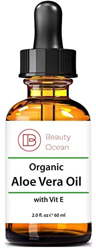 Pure Organic Aloe Vera Oil, 2 oz For Hair, Skin, Face, Body and Sun Burns -100% Organic, Cold Pressed, Natural Oil from Beauty Ocean