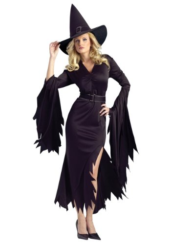 [FunWorld Gothic Witch Adult Costume, Black, Medium/Large 10-14] (Witch Costume For Adults)