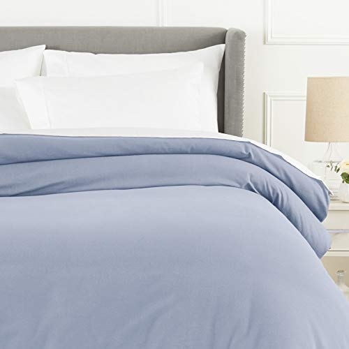 Pinzon Flannel Duvet Cover - Full or Queen, Dusty Blue (Blue Duvet Flannel Cover Plaid)