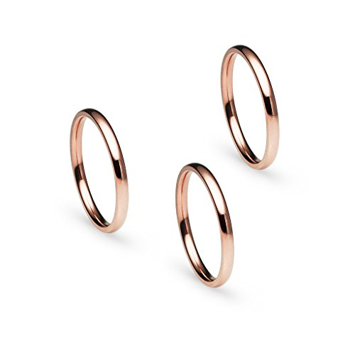 Earrings Ring Wedding (Silverline Jewelry 3pcs 2mm Stainless Steel Women's Plain Band Fit Rose Gold Tone Size 7.5)
