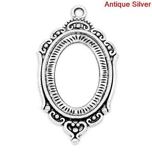 Metal Alloy Charm Pendants | Oval Antique Silver Pendant 4.2Cm X 24Mm 2 Pcs (Finish Medallion Gold Necklace)