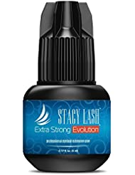 EXTRA STRONG EVOLUTION Eyelash Extension Glue Stacy Lash 5 ml / 1-2 Sec Drying time/Retention – 8 weeks/Maximum Bonding/Professional Use Only Black Adhesive/Semi-Permanent Extensions Supplies