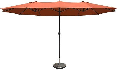 COBANA 15 ft Market Outdoor Umbrella, Extra Large Double-Sided Aluminum Table Patio Umbrella with Crank, Brick Orange