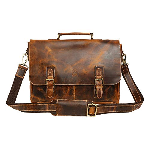 16 inch Genuine Leather Briefcase Bag - Crossbody Laptop Satchel by Rustic ()