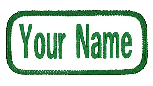 Name patch Uniform or work shirt personalized Identification tape Embroidered Sew On, Hook Fastener or Iron on, White/Celtic Green Arial, SEW ON ()