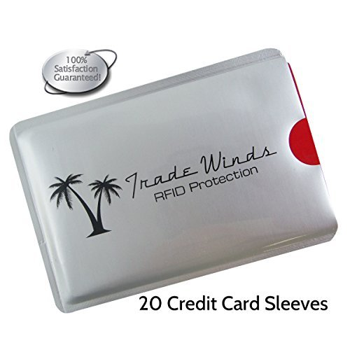 Trade Winds Travel Gear Pack of 20 Credit Card RFID Blocking Sleeves to Shield from Identity Theft.