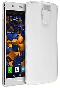 Mumbi - Funda de Piel con pestaña para Huawei P9 Plus, Color Blanco