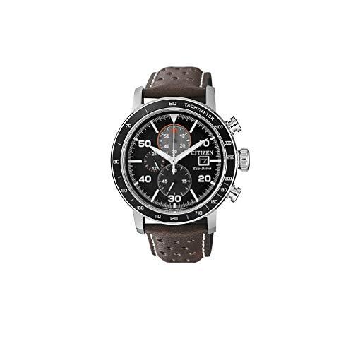 Citizen Eco-Drive Brycen Men's Brown Leather Black Dial Chronograph Multi Dial 44mm Watch CA0641-08E