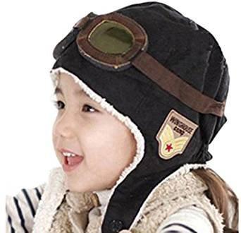 CTKcom 2-Pack Pilot Aviator Fleece Warm Hat Cap with Earmuffs for Kids(Coffee+Black)