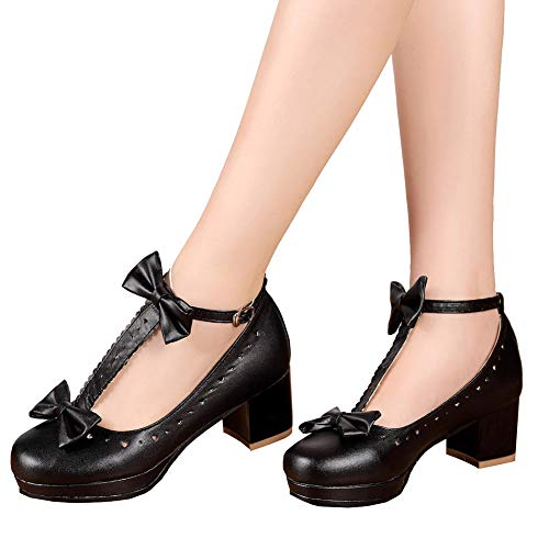 (getmorebeauty Vintage Mary Jane Shoes Black Lolita Shoes Sweet T-Straps Bowknot Mid Heel(7 B(M) US )