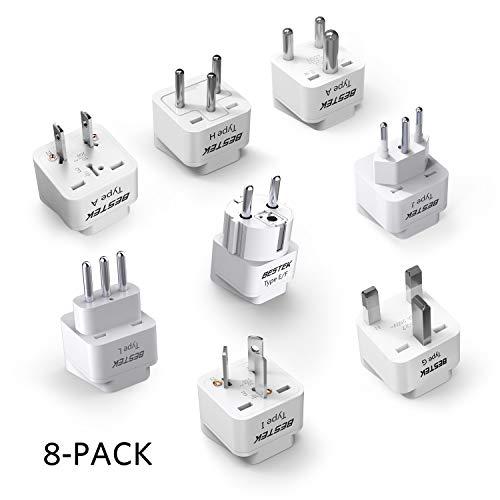 (BESTEK Grounded Universal Plug Worldwide Plug Travel Adapter USA to Worldwide Country Travel Prong Plug Converter Adapter Set for Italy, UK, India, Australia, HK, Japan, Germany, Israel - 8 Packs)