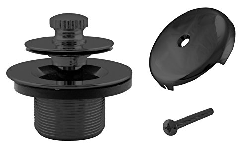 Westbrass Twist & Close Tub Trim Set with One-Hole Overflow Faceplate, Matte Black, D94-62