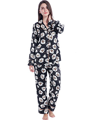 Serenedelicacy Women's Silky Satin Pajamas, Button Up Long Sleeve PJ Set Sleepwear Loungewear (Small, Black Floral Print) (Pajama Print Silk)