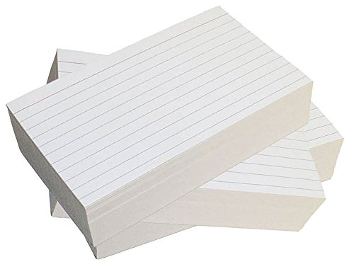 Debra Dale Designs - Thick Extra Heavy Ruled Index Cards - 4 x 6 Inches - White - 300 Cards - 3 Packages of 100 - Extra Heavy 140# Index Card Stock - 253 GSM - .0118 Thick