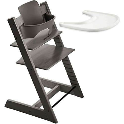 Stokke Tripp Trapp Chair With Baby Set & Tray - Hazy Grey (Stokke Tripp Trapp High Chair Complete Bundle)