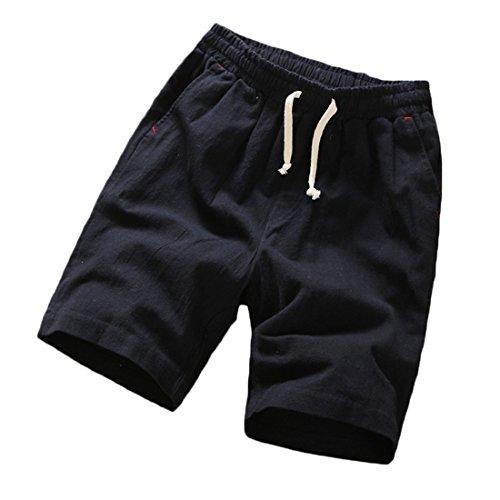 cheap Generic Men Classic Fit Elastic Waist Solid Straight Leg Beach Short