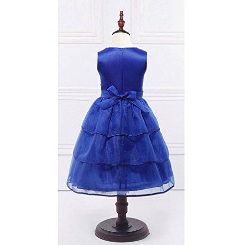 Lihaer Dark Wedding Girls Party Dress Neck Formal Sleeveless Dress Big Round Fashion Elegant knot With Blue Bow ZRvBqZr