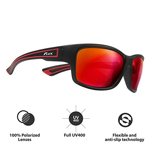Flux Polarized Sports Sunglasses with Anti-Slip Function and Light Frame - for Men and Women when Driving, Running, Baseball, Golf, Casual Sports and Activities: - For Sunglasses Work