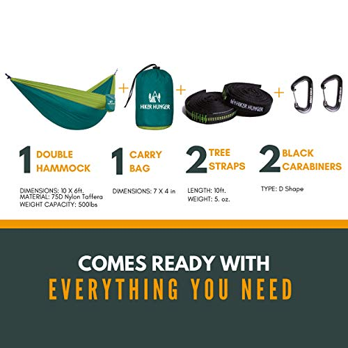 Hiker Hunger Outfitters Hammock Camping Double with Tree Straps Carabiners – USA Based Outdoor Brand – Large Double Size, Portable Ultra Light